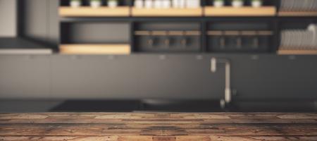 Zamknij się pusty drewniany stół, powierzchnia lub licznik z rozmytą tapetą kuchenną. Skopiuj przestrzeń, renderowanie 3D