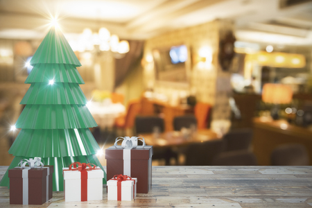 Creative christmas tree and gifts on blurry background with wooden surface. Celebration and holiday concept. 3D Rendering