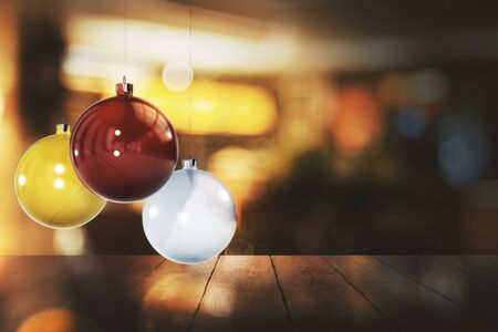 Colorful christmas balls on blurry background with wooden surface. Celebration, New Year concept. 3D Rendering
