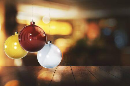 Kleurrijke kerstballen op onscherpe achtergrond met houten oppervlak. Viering, Nieuwjaar concept. 3D-weergave