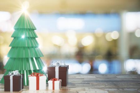 Creatieve kerstboom en geschenken op wazig behang met houten oppervlak. Viering en vakantie concept. 3D-weergave