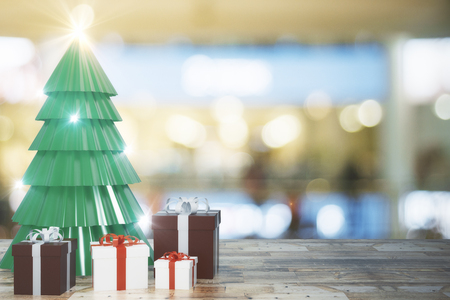 Creative christmas tree and gifts on blurry wallpaper with wooden surface. Celebration and holiday concept. 3D Rendering  Stock fotó