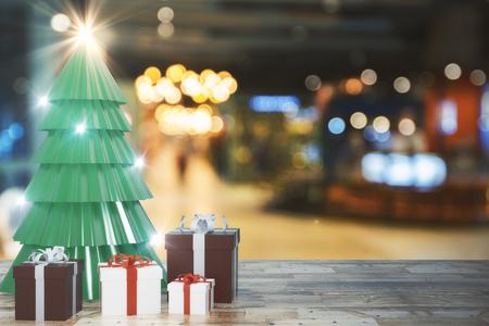 Creatieve kerstboom en geschenken op onscherpe achtergrond met houten oppervlak. Viering en vakantie concept. 3D-weergave