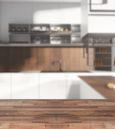 Close up of empty wooden table, surface or counter with blurry kitchen in the backdrop. Copy space, 3D Rendering  Stock Photo