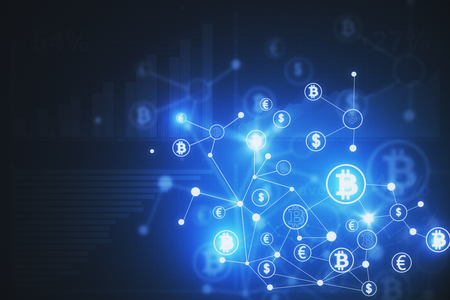 Abstract bitcoin behang. Cryptocurrency, e-business en e-commerce concept. 3D-weergave