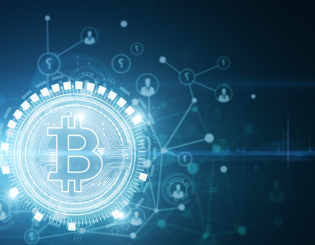 Glowing bitcoin wallpaper. Cryptocurrency, e-business and e-commerce concept. 3D Rendering Reklamní fotografie - 92287258