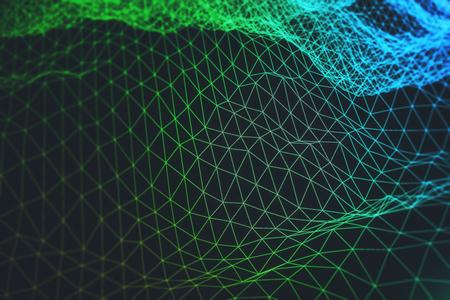 Fundo abstrato onda poligonal verde. Conceito de tecnologia e ciência. Renderização 3D Foto de archivo - 92234536
