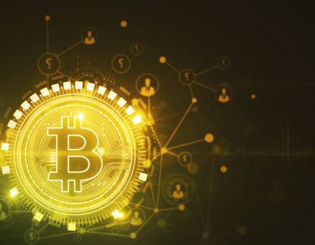 Gloeiende gouden bitcoinachtergrond. Cryptocurrency, e-business en e-commerce concept. 3D-weergave