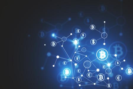 抽象的なビットコインの背景。暗号通貨、電子ビジネス、電子商取引の概念。3D レンダリング 写真素材