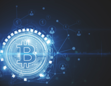 Glowing bitcoin backdrop. Cryptocurrency, e-business and e-commerce concept. 3D Rendering