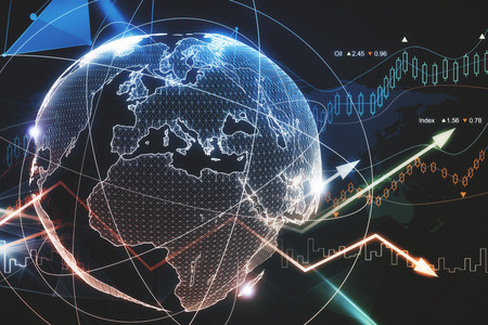 Abstract glowing forex planet background. Global business and trade concept. 3D Rendering