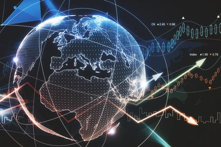Abstrakter glühender Devisenplanetenhintergrund. Globales Geschäfts- und Handelskonzept. 3D-Rendering Standard-Bild - 92337628