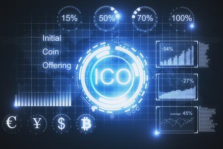 Creative glowing ICO background. Cryptocurrency concept. 3D Rendering Zdjęcie Seryjne - 92249046