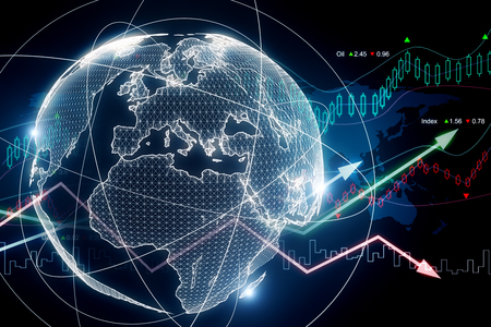 Abstract glowing forex planet background. Global business and economy concept. 3D Rendering