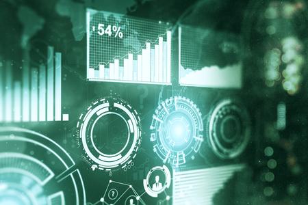 디지털 비즈니스 차트 배경입니다. 미래와 인터페이스 개념입니다. 3D 렌더링