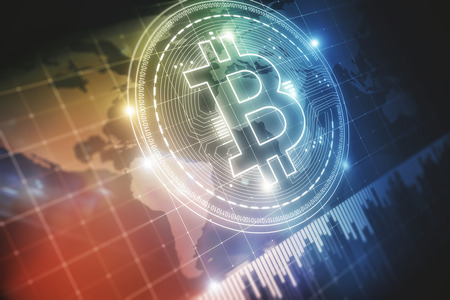 Abstract bitcoin backdrop with business chart. Cryptocurrency and finance concept. 3D Rendering Stock Photo - 93255972