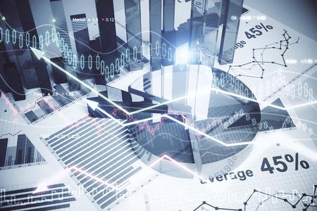 Abstrakte Forex-Tapete. Innovations-, Wirtschafts-, Finanz- und Handelskonzept. Doppelbelichtung