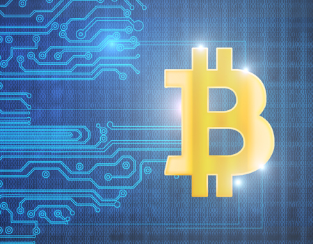 Abstract bitcoin background. Cryptocurrency and e-commerce concept. 3D Rendering