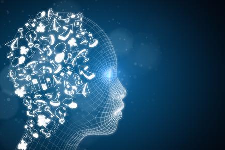 Abstract digitaal hoofd met bedrijfsschets. Kunstmatige intelligentie en marketingconcept. 3D-weergave