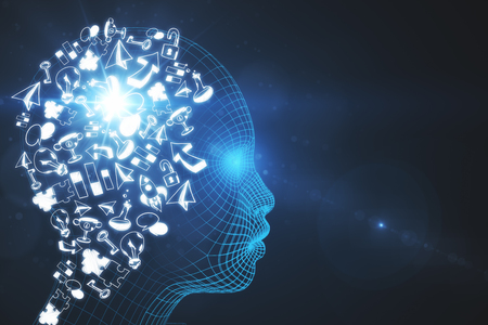 Abstraktes digitaler Kopf mit Geschäftsskizze . Künstliche Intelligenz und Brainstorming-Konzept . 3D-Rendering