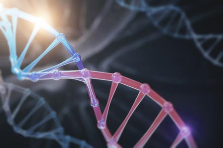 抽象的なDNAの背景。科学とイノベーションの概念。3D レンダリング