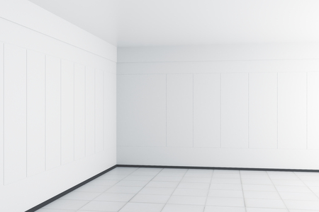 White interior with empty wall and copy space. 3D Rendering