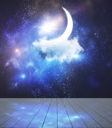 Stage with moon and cloud. Night and imagination concept Imagens