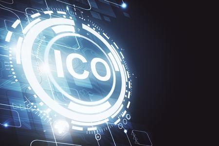 クリエイティブ輝くICOの背景。暗号通貨の概念。3D レンダリング 写真素材