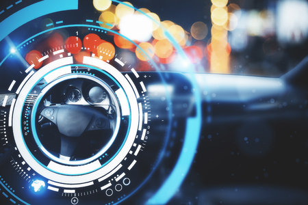 Car with modern digital interface on bokeh background. Transport and future concept. Double exposure  스톡 콘텐츠