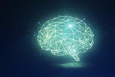 Abstracte gloeiende veelhoekige hersenen op donkere achtergrond. Kunstmatige intelligentie en gegevensconcept. 3D-weergave Stockfoto