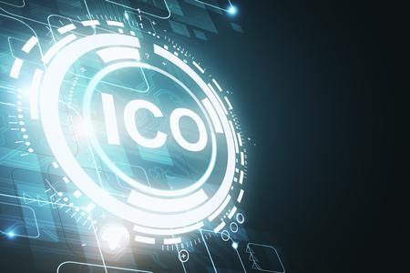 Creative glowing ICO backdrop. Cryptocurrency concept. 3D Rendering Zdjęcie Seryjne - 94832083