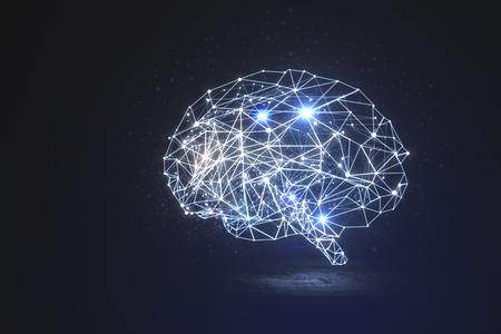 Abstracte gloeiende veelhoekige hersenen op donkere achtergrond. Kunstmatige intelligentie en innovatieconcept. 3D-weergave