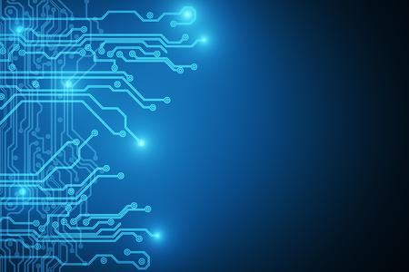 Creative bue circuit wallpaper. Technology and hardware concept. 3D Rendering  Standard-Bild