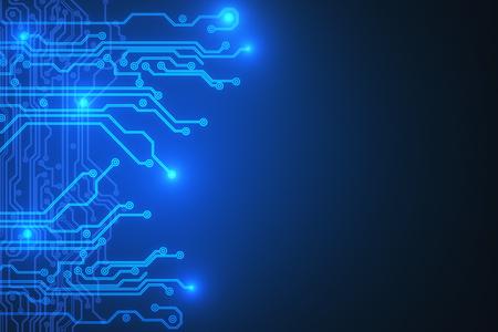 クリエイティブなブエ回路の背景。テクノロジとハードウェアの概念。3D レンダリング