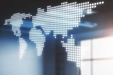 Digital map on blurry interior background. Global business concept. Double exposure