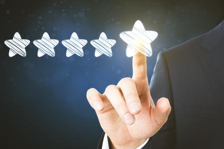 Hand drawing glowing stars. Leadership and award concept