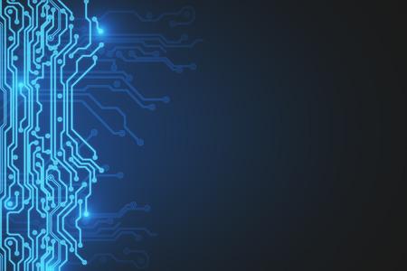 크리 에이 티브 bue 회로 배경입니다. 기술 및 하드웨어 개념입니다. 3D 렌더링 스톡 콘텐츠