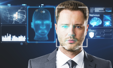 Businessman portrait with digital interface. Face ID concept. Double exposure  스톡 콘텐츠