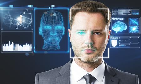 Portrait d'homme d'affaires avec une interface numérique. Concept d'identification de visage. Double exposition Banque d'images