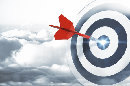 Dartboard on sky background. Targeting, aiming and success concept. 3D Rendering Reklamní fotografie - 94832479