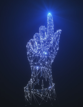Glowing polygonal hand pointing up on abstract blue background. Forward concept. 3D Rendering  Banco de Imagens