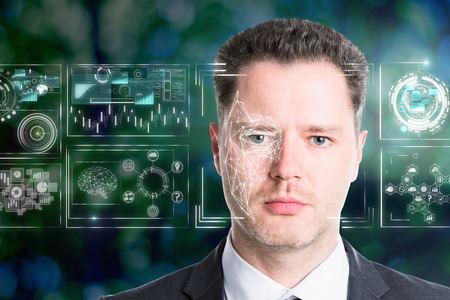 Handsome european businessman portrait on abstract blurry background with business interface. Face ID concept. Double exposure