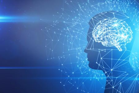 青い背景に抽象的な多角形の脳を持つ男のプロフィールシルエット。人工知能とブレーンストーミングの概念。3D レンダリング 写真素材