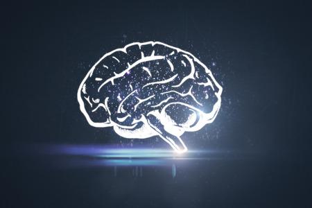 暗い背景に輝く脳のスケッチ。ブレーンストーミングの概念