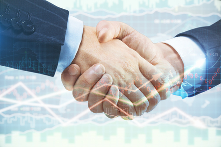 Handshake on abstract forex background. Finance and investment concept. Double exposure
