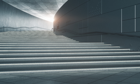 Concrete stairs with sunlight. Success concept. 3D Rendering