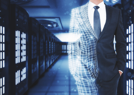Abstract unrecognizable polygonal businessman on server room background with copy space. Robotics and science concept. 3D Rendering