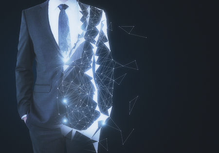 Abstract unrecognizable polygonal businessman on dark background with copy space. Robotics and innovation concept. 3D Rendering