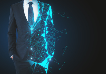 Abstract unrecognizable polygonal businessman on dark background with copy space. Robotics and future concept. 3D Rendering