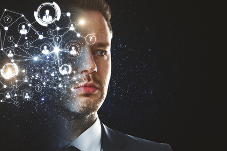 Digital business hologram headed businessman on dark background with copyspace. Face recognition and innovation concept
